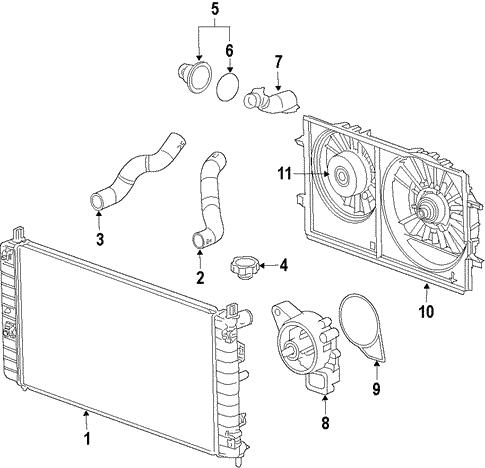 Awe Inspiring 2008 Buick Enclave Cooling System Radiator Components Parts Diagram Wiring Database Gentotyuccorg