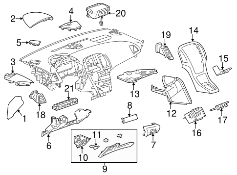 oem 2013 buick verano instrument panel components parts