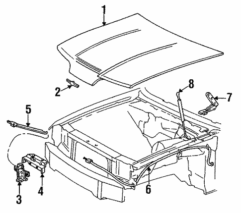Body Hood Components For 1991 Ford Thunderbird 1