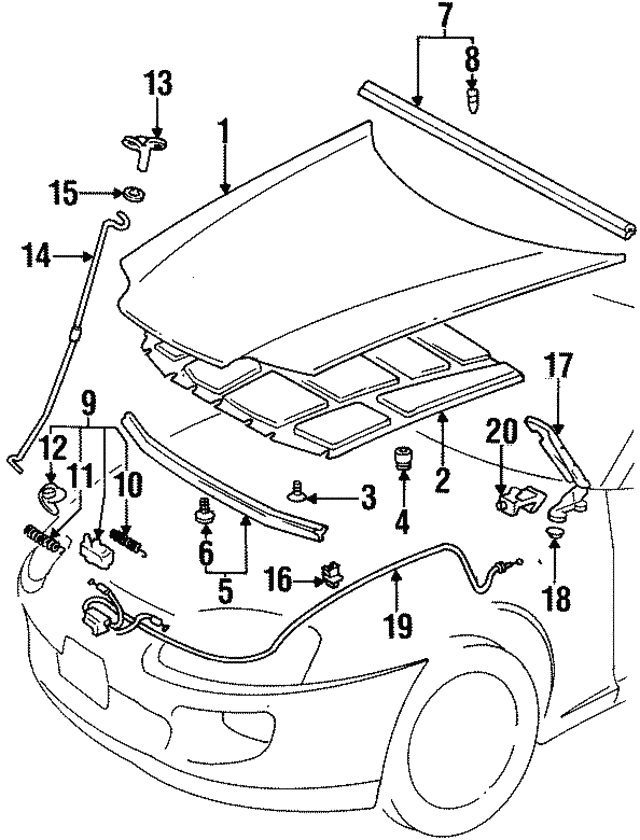 1993 1998 Toyota Supra Safety Catch 53550 14020