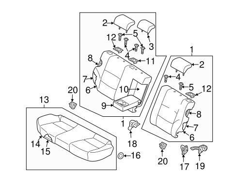 Genuine Hyundai 89150-2L800 Seat Cushion Pad Assembly Rear Right