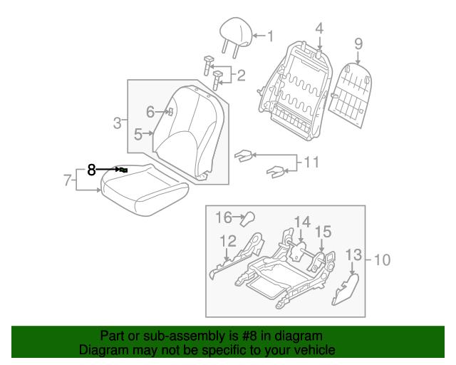 Genuine Hyundai 88270-1E000-MWK Seat Cushion Covering Passenger Side Front