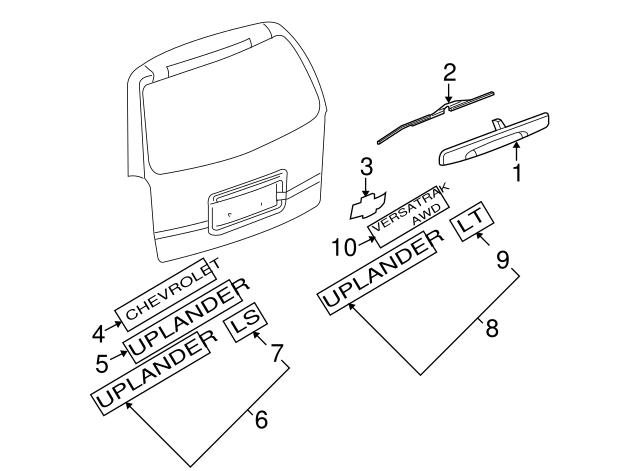 GM Genuine 15222336 Liftgate Vehicle Name Plate