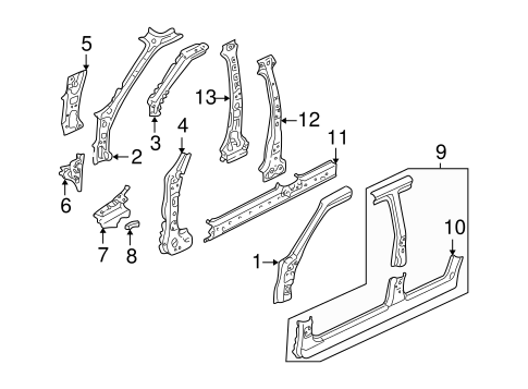 Body/Hinge Pillar for 2005 Ford Escape #1
