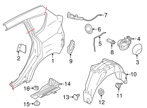 Quarter Panel Components For 2015 Ford C Max