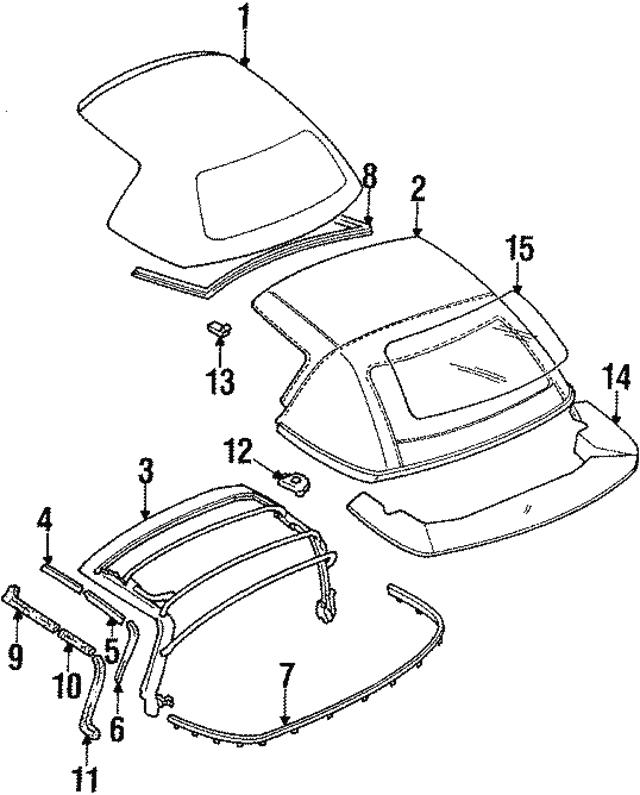 OEM NEW Genuine Mazda Left Top Molding Weatherstrip 1990-97 Miata  NA01-R1-891B