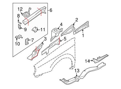 Structural Components & Rails for 2004 Subaru Forester #0
