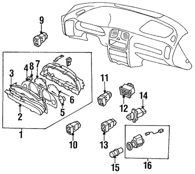 1995 2000 Subaru Hazard Switch 83045ac001