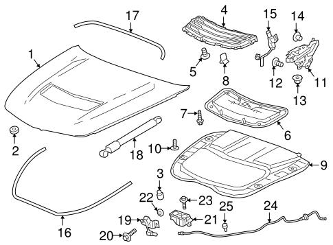 oem 2016 cadillac cts hood components parts. Black Bedroom Furniture Sets. Home Design Ideas