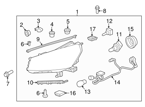 Oem 2015 Gmc Acadia Headlamp Components Parts Gmpartsonline Net
