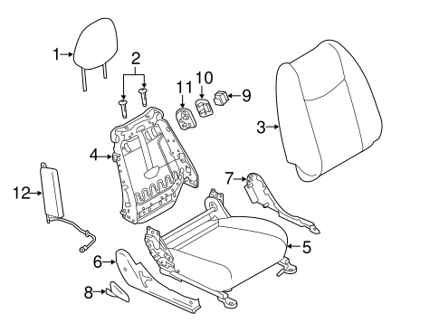 Passenger Seat Components for 2012 Nissan Leaf #0