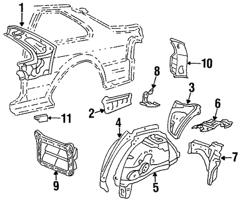 BODY/INNER STRUCTURE for 1996 Toyota Paseo #1