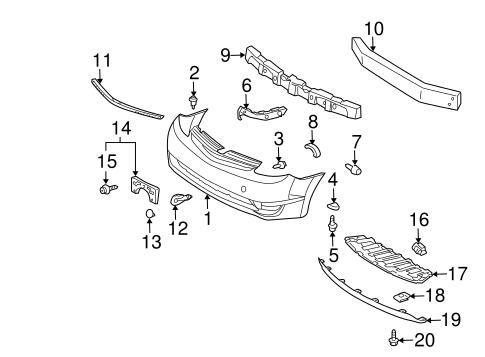 genuine oem bumper components front parts for 2004 toyota prius rh parts olathetoyota com 2009 toyota prius parts diagram 2010 toyota prius parts diagram