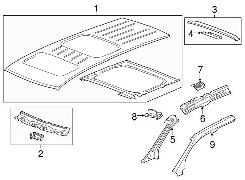 oem 2014 gmc acadia roof components parts. Black Bedroom Furniture Sets. Home Design Ideas