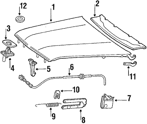 Hood & Components for 1988 Mercedes-Benz 560 SL #0