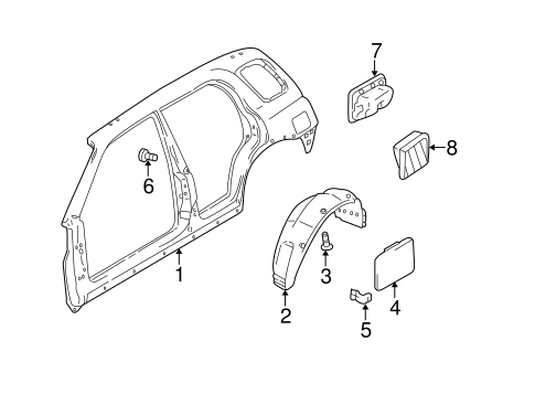 Quarter Panel Components For 1999 Chevrolet Tracker
