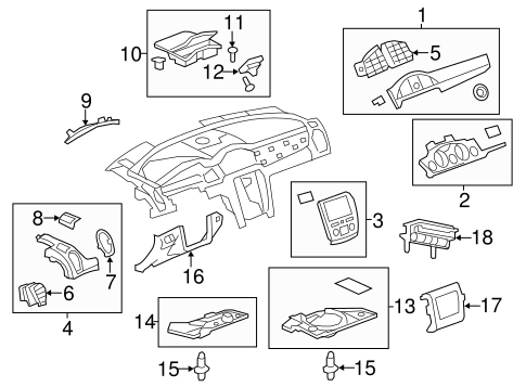 oem 2009 buick enclave instrument panel components parts. Black Bedroom Furniture Sets. Home Design Ideas
