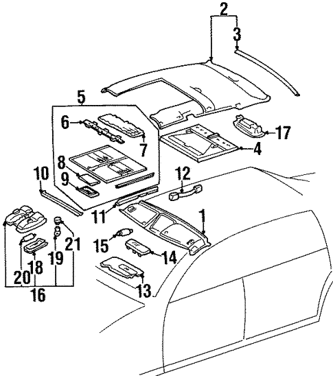 Interior Trim - Roof for 1998 Mercedes-Benz S 600 #0