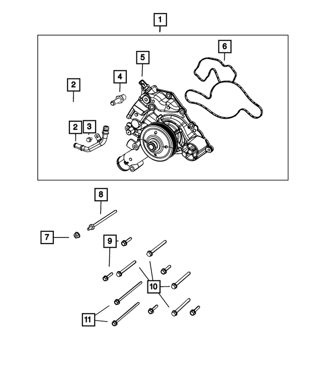 Water Pump - Mopar (68346911AA)