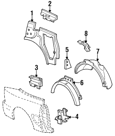 Body/Inner Structure for 1996 Ford Mustang #1