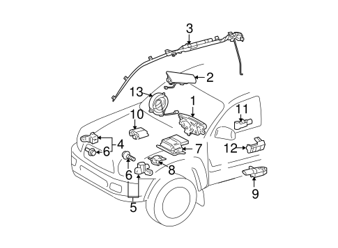 Air Bag Components For 2002 Toyota Tundra