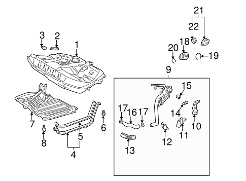 Fuel System Components for 2000 Toyota Celica #1