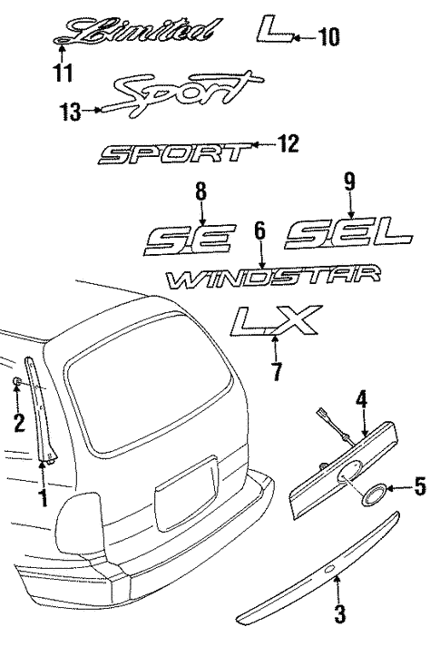 Exterior Trim - Lift Gate for 2000 Ford Windstar #0