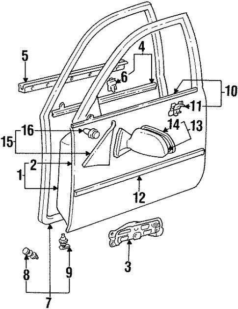 Door Components For 1996 Toyota Corolla