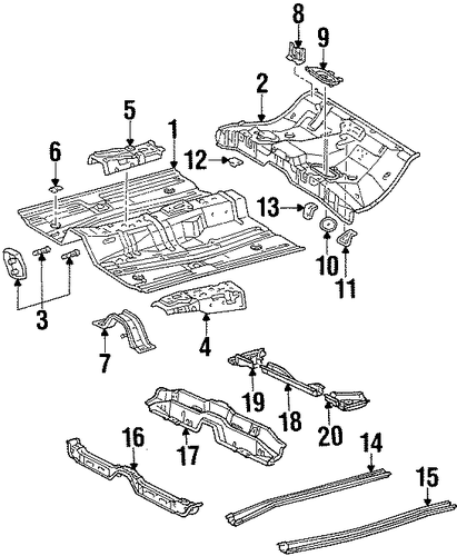 BODY/FLOOR & RAILS for 1996 Toyota Corolla #1