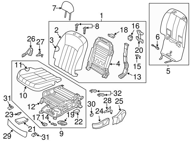 Right Rear Genuine Hyundai 89260-3NAA1-XIT Seat Cushion Covering