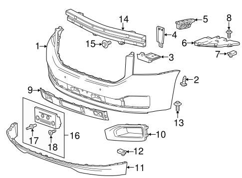 oem 2015 gmc yukon bumper components front parts. Black Bedroom Furniture Sets. Home Design Ideas