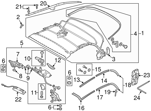 2013 2018 Volkswagen Beetle Top Frame Repair Kit 5c3 898 814