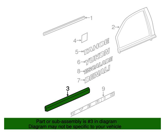 GM OEM FRONT DOOR-Body Side Molding Right 15950342