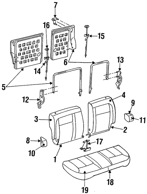 Rear Seat Components For 1997 Ford Taurus