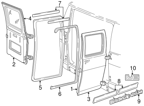 door  u0026 components for 1997 dodge b1500 parts