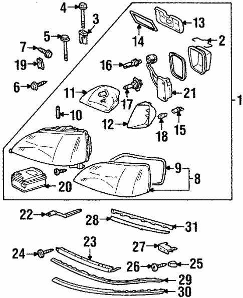 Headlamp Components for 1998 Mercedes-Benz CL 600 #0