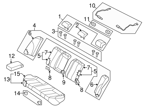 Rear Seat Components For 2006 Kia Optima