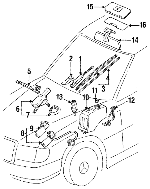 Wiper & Washer Components for 1994 Mercedes-Benz E 320 #0