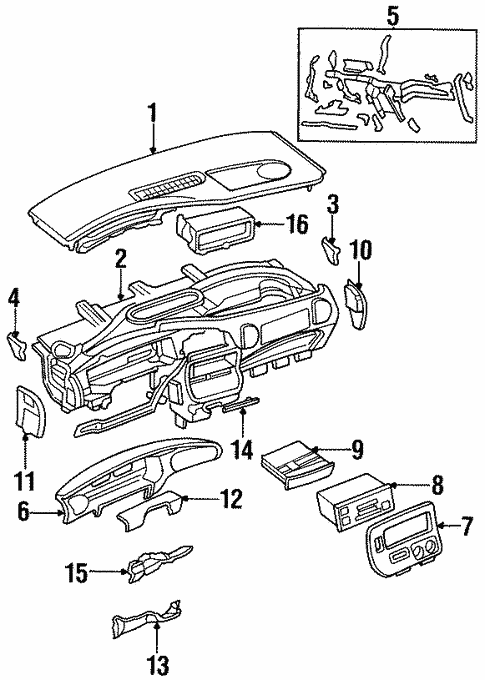 Instrument Panel Components For 1999 Chrysler Town Country