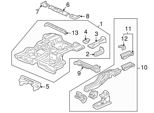 1997 2001 Honda Cr V 5 Door Extension R Rear Floor 65517 S10 A00zz