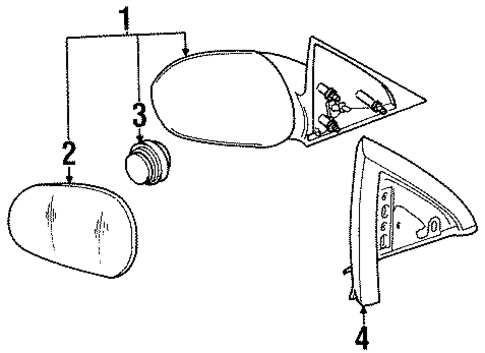 Body/Outside Mirrors for 1996 Ford Mustang #1