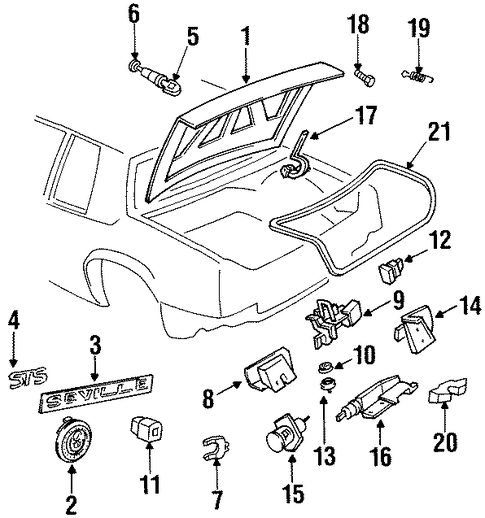 oem 1992 cadillac seville trunk parts