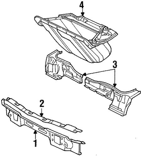 oem 1985 pontiac fiero radiator support parts