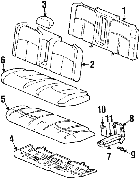 Rear Seat Components For 1999 Oldsmobile Aurora