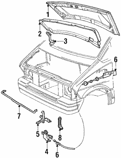 Hood & Components for 1987 Ford Aerostar #0