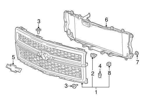 grille components parts for 2014 chevrolet silverado 1500. Black Bedroom Furniture Sets. Home Design Ideas