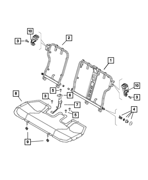 Rear Seats - Second Row - Adjusters, Recliners, Shields and Risers for 2015 Jeep Renegade #0