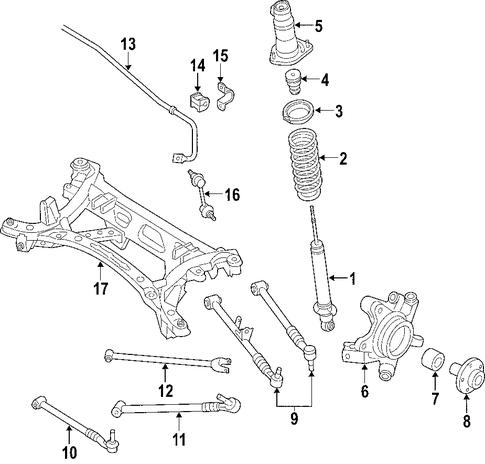 genuine oem rear suspension parts for 2007 mazda rx 8 base. Black Bedroom Furniture Sets. Home Design Ideas