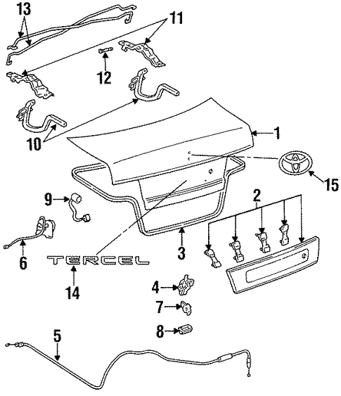 Genuine Oem Lid Components Parts For 1994 Toyota Tercel Std