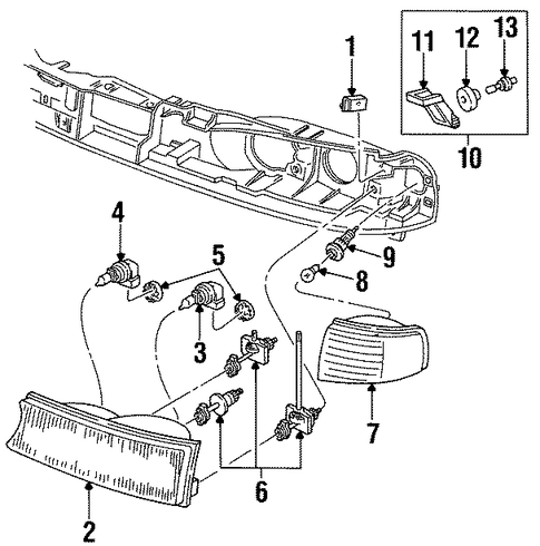 Electrical/Headlamp Components for 1997 Ford Contour #1